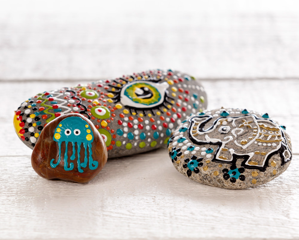 Painted rocks made with 3D Folk Art Paint