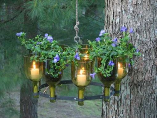 Create a candle chandelier with bottle cutter