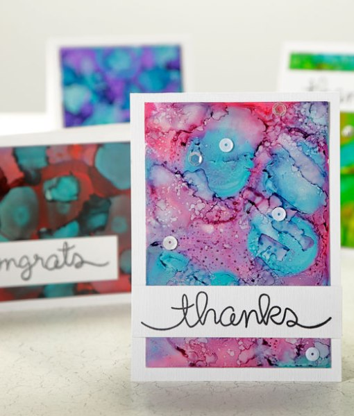 Cards made with Alcohol Inks at Craft Warehouse