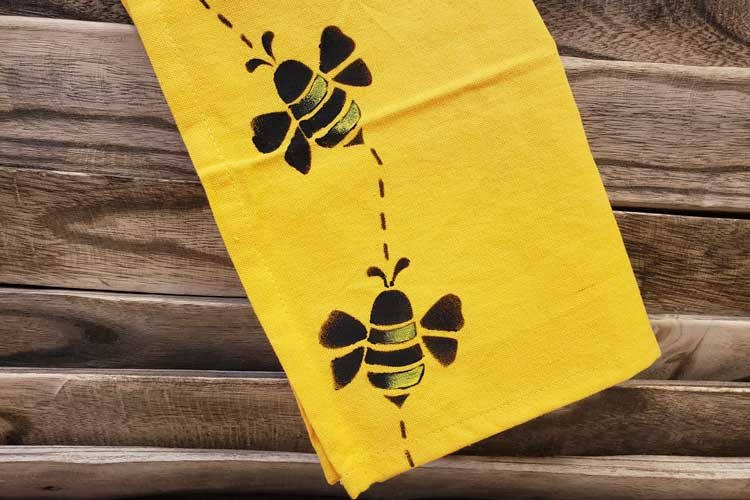 BEE Happy: Stenciled Bee Towel @ Meridian Location | Meridian | Idaho | United States