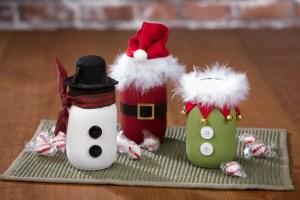 Christmas mason jar snowman santa elf chalky paint decoart