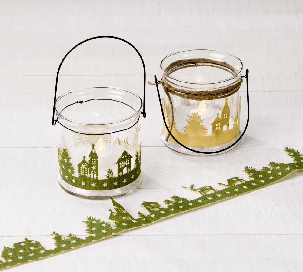 Darice glass candleholder bucket holiday snow trm