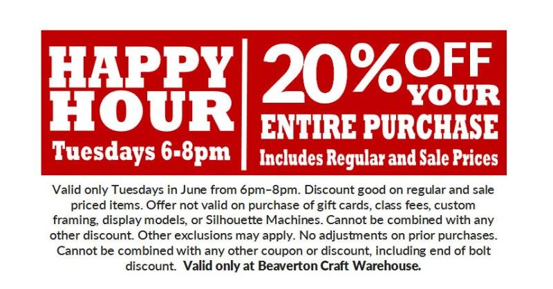 Happy Hour - 20% OFF @ Beaverton Location | Beaverton | Oregon | United States