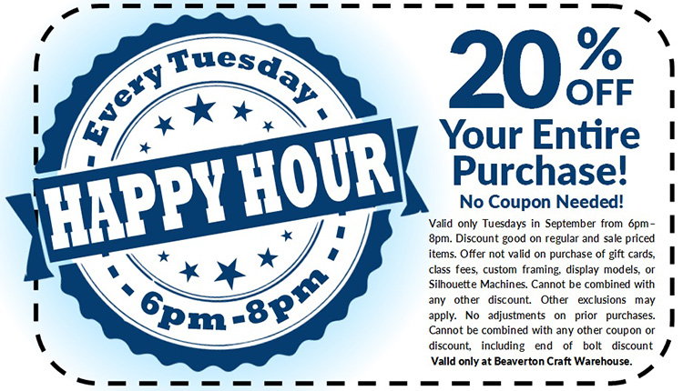 Happy Hour Save 20 Off Your Purchase Craft Warehouse