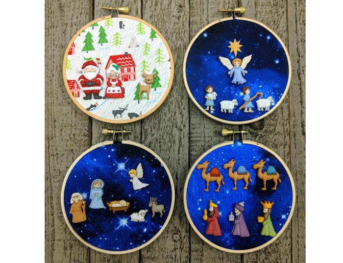 Holiday Button Hoop Art