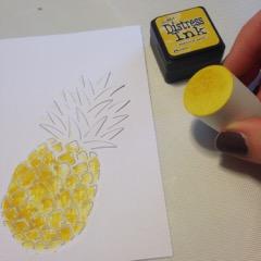 Hero Art Pineapple dir cut and tim holtz disstress ink