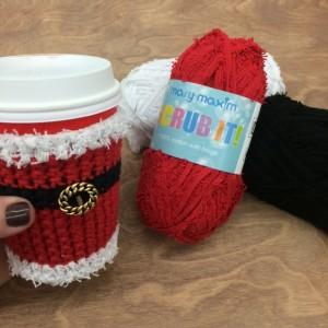crocheted santa mug wrap and yarn