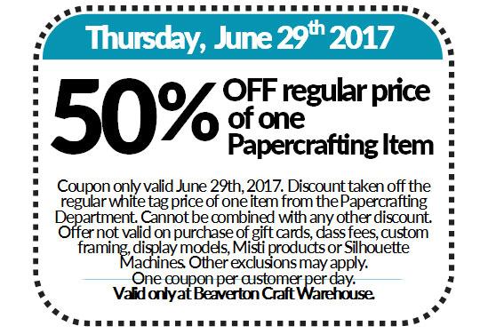 Coupon 50 Off Regular Price Of One Papercraft Item Craft
