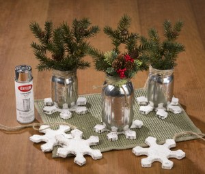 Krylon looking glass mason jar snow flake