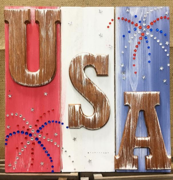 USA Slat board sign at Craft Warehouse
