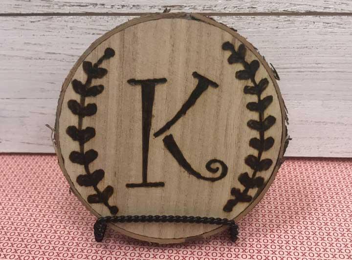 Monogram Wood Burned Coaster