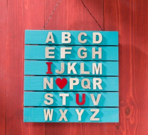 alphabet wood letter sign, decoart acrylic paint, letters, spell, love, valentines