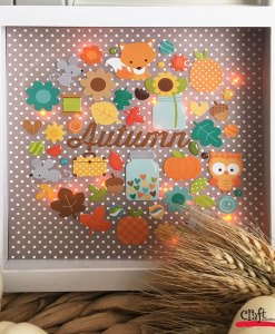 Autumn Light Up Shadowbox with Doodlebug Images from Craft Warehouse