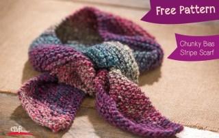 Make this Chunky Bias Stripe Scarf - Free Pattern at Craft Warehouse