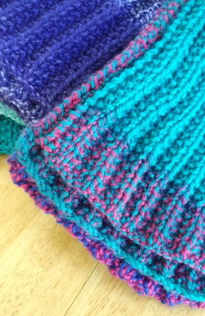 Close Up of Knit Scarf with Candy Shop Yarn