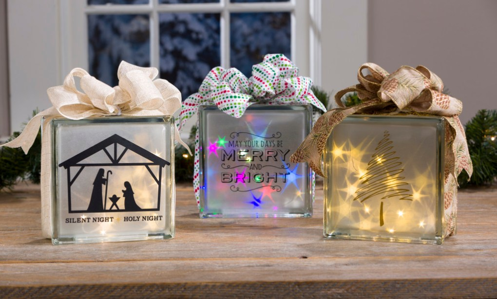 Christmas Holographic blocks with rice lights