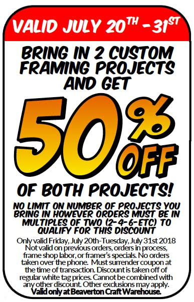 Dynamic Duo Framing Coupon @ Beaverton Location