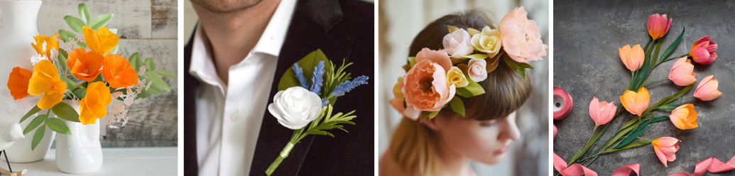 Samples of Crepe Paper Flowers from Lia Griffith