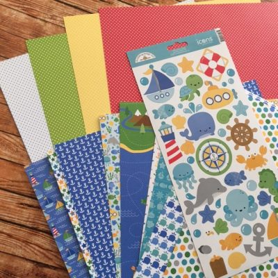 doodlebug anchors aweigh baby boy scrapbook paper stickers