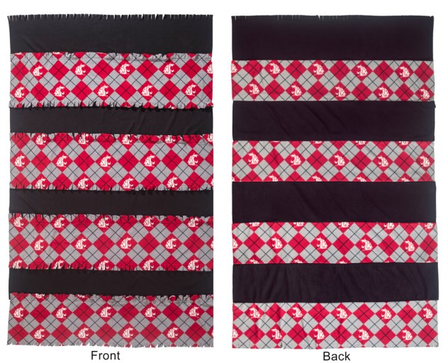 Fringe Fleece Blanket - front and back