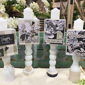 Gingham Farm Candle Holders