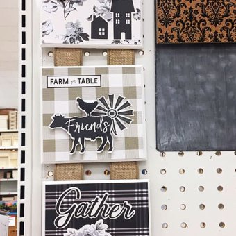 The wood pieces decorated with Gingham Farm Paper