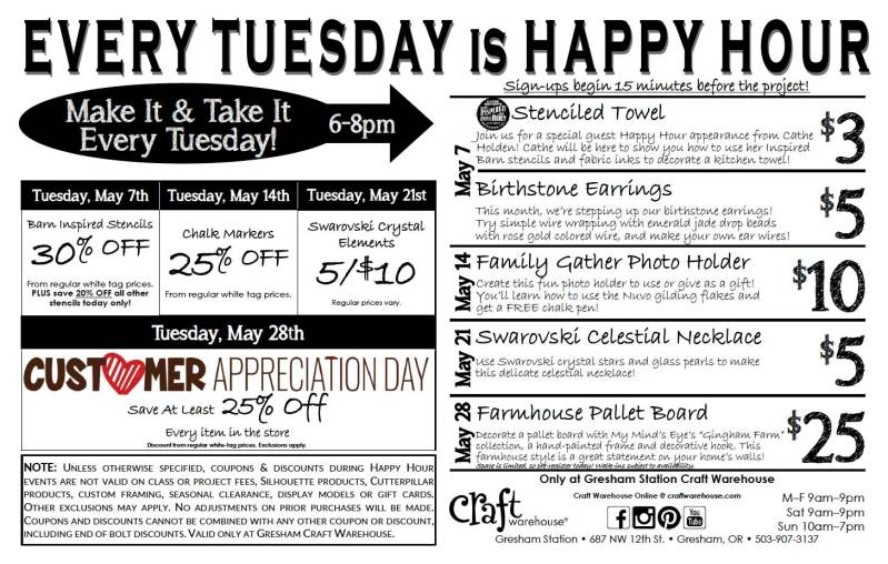 Happy Hour: Specials @ Craft Warehouse @ Gresham Station | Gresham | Oregon | United States