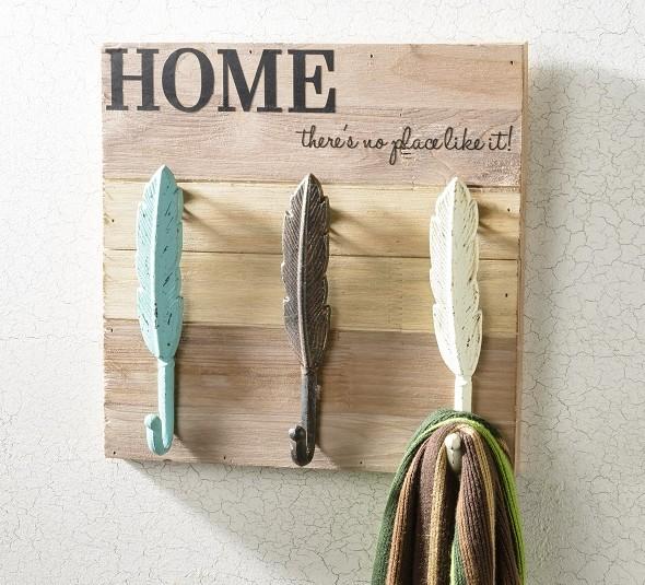 Metal Feather hooks vinyl letters on wood board