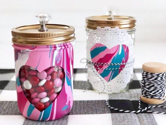 paint pour mason jars