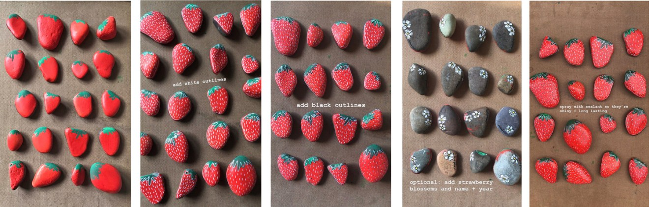 How to paint strawberry rocks by sarah atwill-bowen