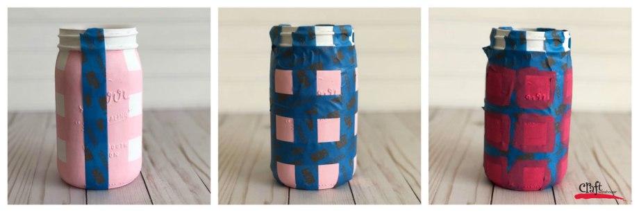 Painting a Mason Jar with Buffalo Check