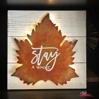Metal Leaf Lighted Sign made with Alcohol Inks
