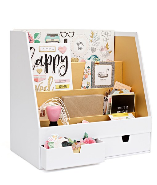Desk Paper and Tool Organizer in White and Gold at Craft Warehouse