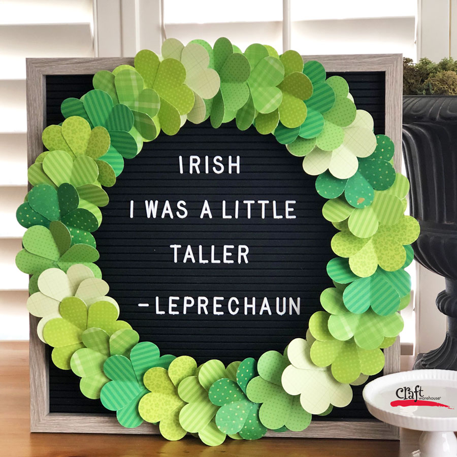 Make a St Patricks Shamrock Wreath from a Heart Paper Punch
