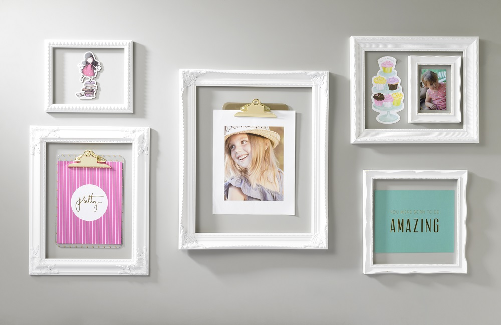 white open frame wall display scrapbook wall art