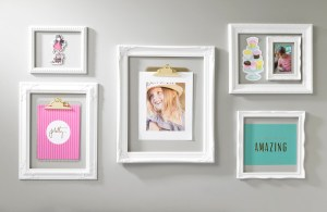 white open frame wall display scrapbook wall art