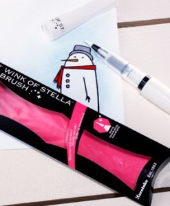 Use the clear Wink of Stella glitter brush pen for paper projects - find at Craft Warehouse
