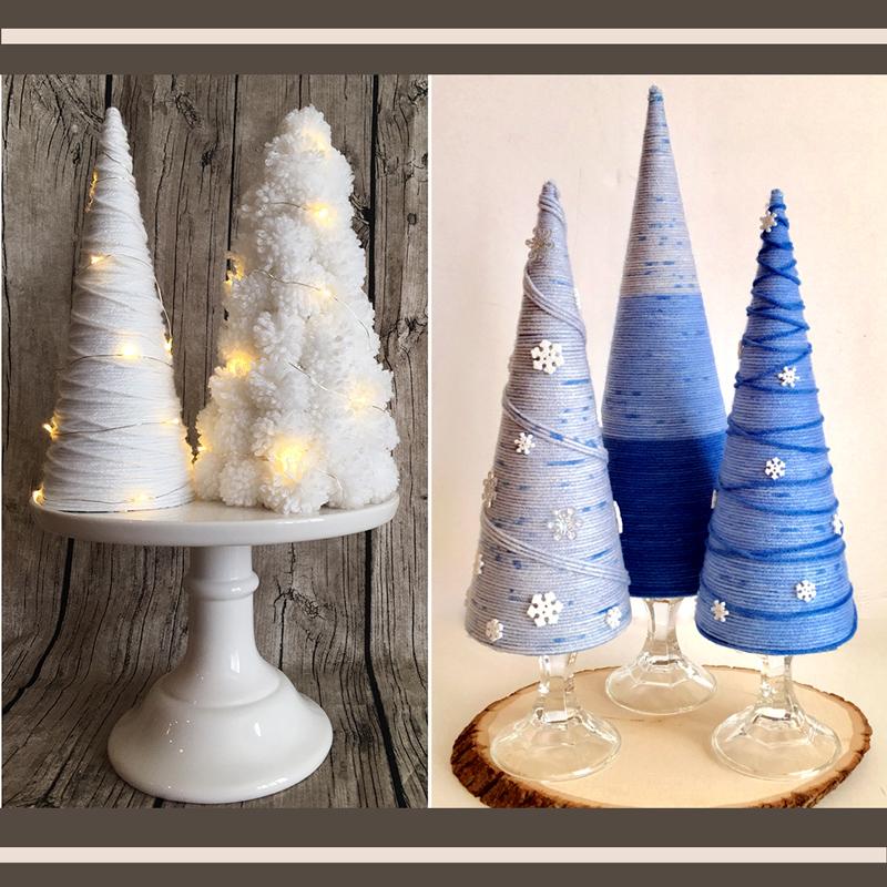 How to Make Winter Yarn Trees