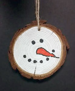 Wood Snowman Ornament