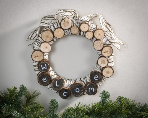 Murey chalk board marker welcome log wreath