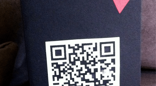 Anniversary card with QR code message and a heart