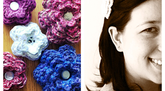 crochet flowers on hair clips in pink, purple and white