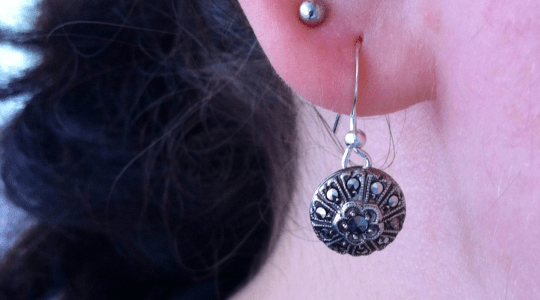 silver hook earring with round marcasite studded pendant