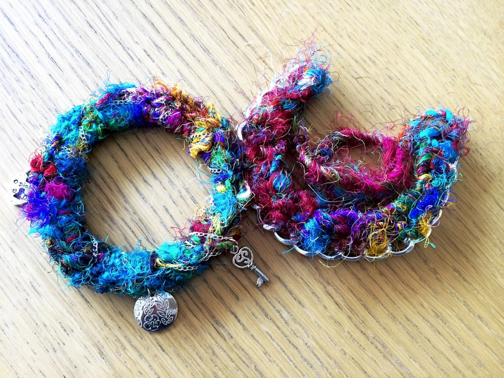 blue, pink and yellow sari silk worsted yarn bracelets