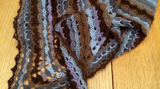 Blue and brown toned shawl