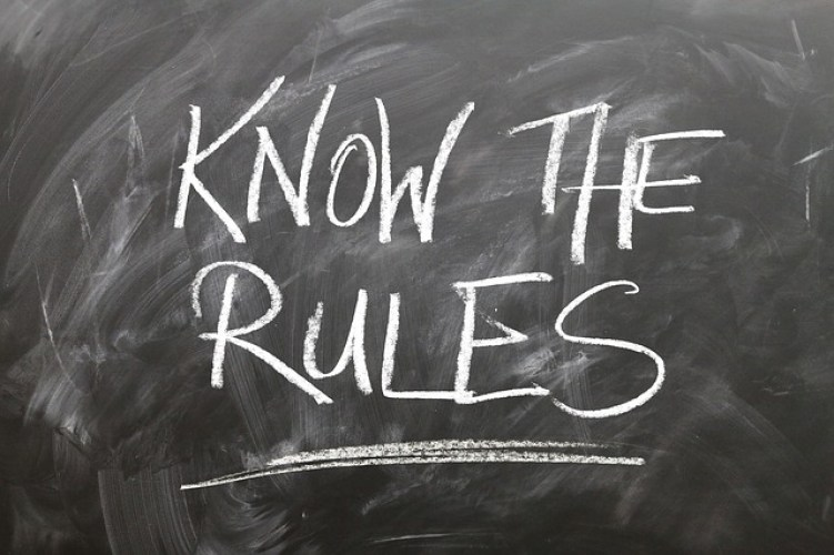 Photo of blackboard writing: know the rules