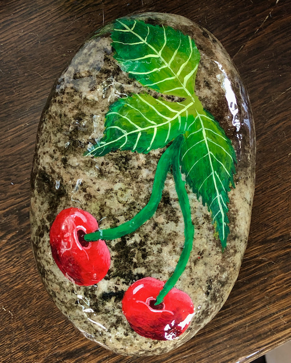Natural Rock with cherries design
