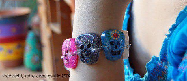 Resin skull bracelet.