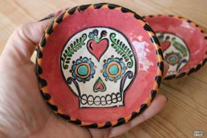 Stamped clay ring Dish #craftychica #stampedclay #sugarskullart