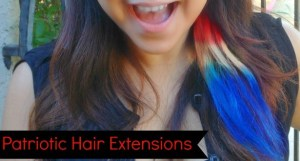 4th of July dyed hair extensions.